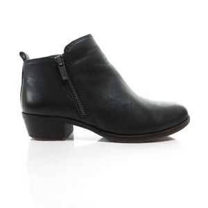 Lucky Brand Double Zip Black Leather Ankle Boots